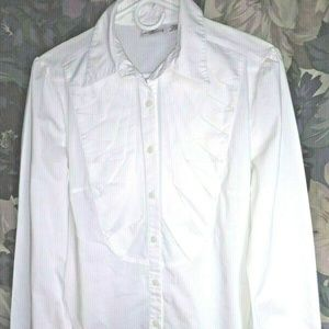 Worthington Stretch Womens Blouse L Pleated front
